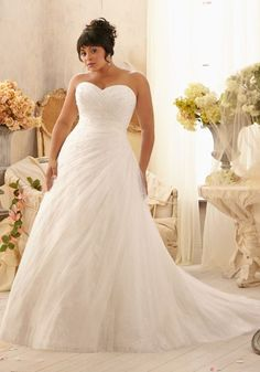 Crystal Beads, Soft Net Chantilly Lace Plus Size Weddding Dress