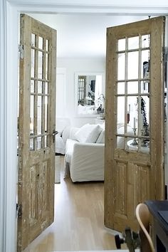 OH lovely rustic doors. Great alternative to the usual french doors! OH lovely rustic doors. Great alternative to the usual french doors! House Design, Interior, Home, House Styles, New Homes, Doors Interior, Swedish Decor, French Doors Interior, Old Doors