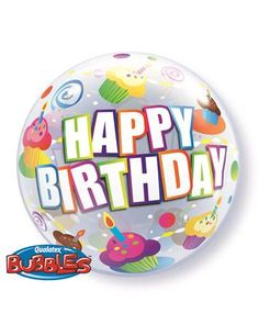 packaged Happy Birthday bubble balloon with cupcake design.Bubbles bring new life to balloons with a round, wrinkle free, beach ball like appearance with effect from every angle. Non allergenic, long lasting, and no oxidization. Happy Birthday 22, Bubble Birthday, Happy Birthday Cupcakes, Happy Birthday Balloons, 22nd Birthday, Helium Filled Balloons, Qualatex Balloons, Bubble Balloons, Foil Balloons