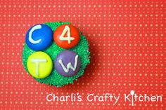 Personalized cupcake using giant M&Ms