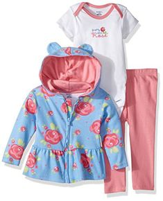Gerber Baby 3 Piece Hooded Jacket, Bodysuit and Pant Set, rose, 18 Months