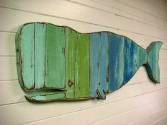 Whale Sign Beach House Weathered Wood Wooden Sea Glass Colours by CastawaysHall