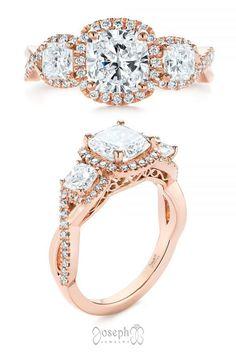 Three Stone Cushion Diamond Criss Cross Engagement Ring