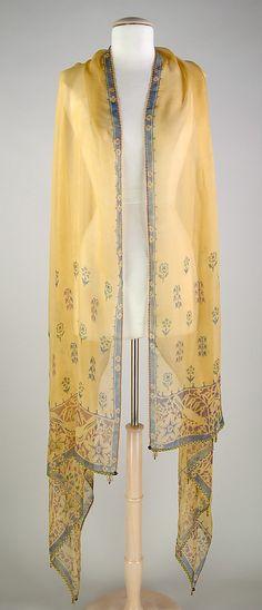 Stole Ethel L. Wilson Hughes Date: ca. 1920 Culture: American Medium: Silk, glass beads, paint