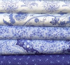 Summer Breeze II Blue and White by Sentimental Studios for Moda 5 Fat Quarters 100 Percent Cotton Quilting Fabric. $13.75, via Etsy.