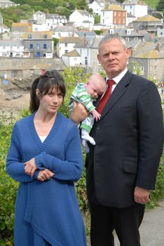 Doc Martin. Image shows from L to R: Louisa Glasson (Caroline Catz), Dr Martin Ellingham (Martin Clunes). Image credit: Buffalo Pictures.