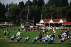 The Braemar Highland Gathering: a game of Tug of War on the oval - Scotland