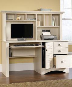 Love this Harbor View Computer Desk & Hutch Set by Sauder on #zulily! #zulilyfinds