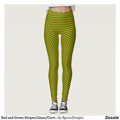 Leggings With Red and Green Stripes/Lines/Curves