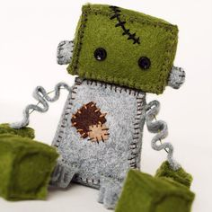 Frankenstein Halloween Robot Plush in Green and Gray by GinnyPenny, $30.00