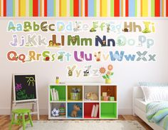 Lil' Cloud Designs Original Art Animal Wall Decal Sticker Alphabet by Kathleen Renee. Perfect for a nursery, baby, children, school rooms, pre-schools, or just for fun.  Purchase comes with Uppercase (showcasing the animal and animal name) and lowercase (lower case letter by itself smaller than upper case) letters all in matching font.  Upper and lower cases match colors and patterns on letters.  Choose the size you desire. Most popular size is the 4.5 inches tall (Regular).