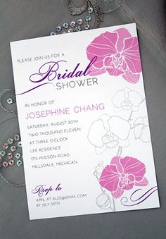 PRINTABLE Orchid Invitation (bridal showers, baby showers, or birthdays)