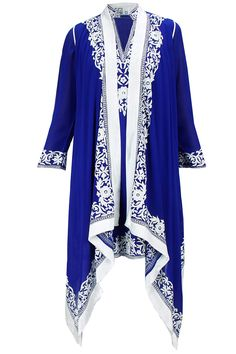 Royal blue embroidered kurta with kaftan available only at Pernia's Pop-Up Shop.