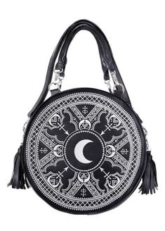 ee05fb3a92e Round bag made of black faux leather Inside soft lining with two pockets  (one zippered) Comes with several different straps and tassels to customize  as you ...