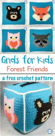 This free crochet pattern shows you how to crochet woodland animal squares into a fun pillow block perfect for baby!  Make one or make many for a very special baby gift.