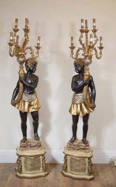 6ft Carved Italian Blackamoor Candelabras Torcheres Candles