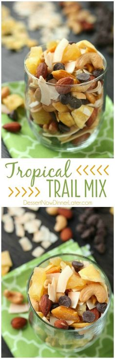 This Tropical Trail Mix is salty, sweet, and full of Sunsweet tropical flavors! A great on-the-go snack! #FindYourParadise #ad