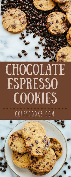 Chocolate Espresso Cookies | Buttery and crisp Shortbread Cookies flavored with coffee and flecked with chocolate chips. Easy slice and bake cookie recipe! | ColeyCooks.com
