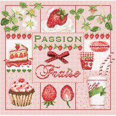 Passion Fraise - Fiche point de croix - Madame la Fée
