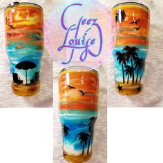 Sunset beach tumbler stainless steel customized personalized ink swirl epoxy tropical – Wonderful things found on Etsy! – New Epoxy Diy Tumblers, Custom Tumblers, Glitter Tumblers, Sunset Beach, Beach Cups, Custom Cups, Tumbler Designs, Glitter Cups, Monogram Decal