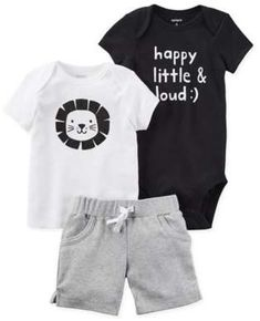 """Love this baby boy outfit! carter's® 3-Piece """"Happy, Little & Loud"""" Bodysuit, Shirt and Short Set in Black"""