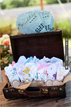 suitcase filled with hankies | CHECK OUT MORE IDEAS AT WEDDINGPINS.NET | #weddings