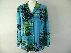 Chico's Womens Clothing Silk Jacket Blouse Beautiful Blue Asian Design Size 2 | eBay