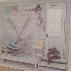 #miniature#beach#beachhouse#teddybear#summerroom#summer#ミニチュア#ビーチ#クマ#夏#手作り#ハンドメイド  Done!! 完成しました(TωT)/さわやかな一品。  あとでテトテさんに出品します♪