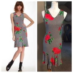 """Rose black and white dress Cute dress for summer! Black and white checkered with red roses all-over print. Sleeveless, V-neck and flared hem. Poly/rayon blend with 6% spandex for curve hugging fit; approximately 36"""" total length. Perfect NWOT condition by American Twist. Dresses"""