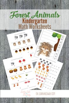 Why not review some math skills with these fun forest animals kindergarten math worksheets?