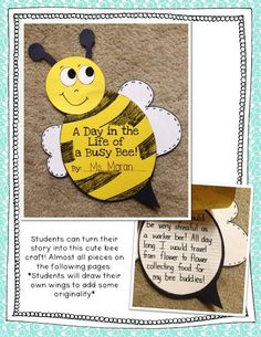 A day in the life of a busy bee - cute bee craft with writing activities! Writing Through the Seasons {Spring}!