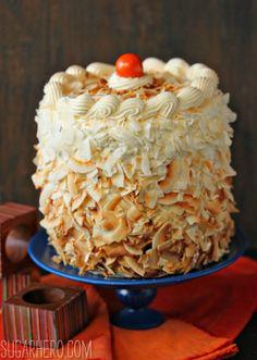 Carrot Cake with Coconut Cream Cheese Buttercream - from SugarHero.com