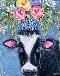 Black and White Cow with Bouquet Print – Audra Style Art White Cow, Black And White, Note Cards, Original Paintings, Bouquet, Bloom, The Originals, Prints, Instagram