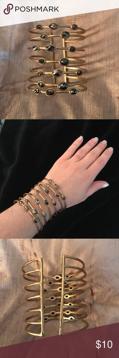 ⭐️️Bloomingdales gold multilayer cuff bracelet ⭐️️ ⭐️️Bloomingdales gold multilayer cuff bracelet ⭐️️Adjustable size ⭐️️Dark Grey Stones⭐️️ Bloomingdale's Jewelry Bracelets