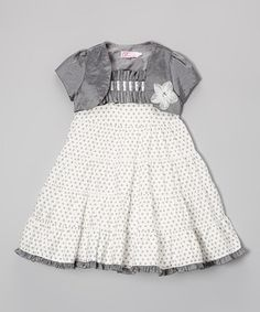 Take a look at this Silver Polka Dot Ruffle Dress & Shrug - Infant & Toddler by Donita on #zulily today!