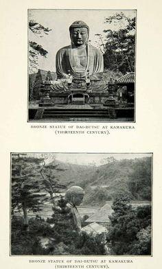 1909 Print Bronze Statue Religious Buddha Dai-Butsu Kamakura Japan XGED5 - Period Paper