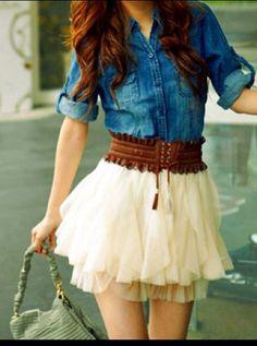Denim Button Down Shirt & Stylish Fluffy Skirt