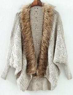 Grey Batwing Long Sleeve Contrast Fur Knit Cardigan 25.00