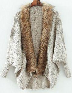 Grey Batwing Long Sleeve Contrast Fur Knit Cardigan 25.00