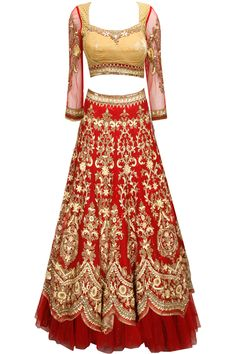 Maroon sequins and cutdana embroidered lehenga set by Tarun Tahiliani.
