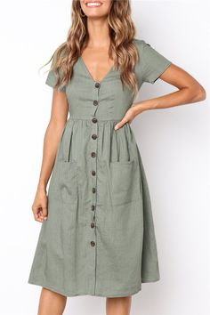 bed895b6f7 Preety Dream V Neck Pockets Buttons Mid Dress