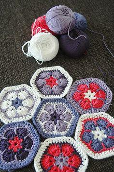 Great colors - crochet hexagons in African flower motif - Beautiful!