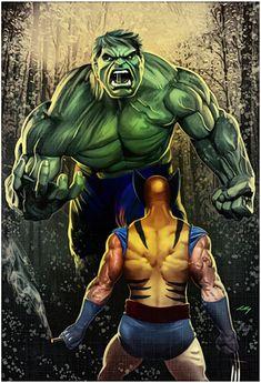 Hulk Vs Wolverine - Commission 2017 by axlsalles on DeviantArt Marvel Wolverine, Marvel Comics, Hq Marvel, Marvel Heroes, Univers Marvel, Hulk Tattoo, Dc Tattoo, Marvel And Dc Characters, Hulk Art
