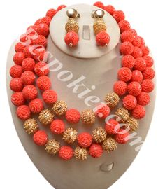 Rose carved coral necklace set - Bespokiet.com