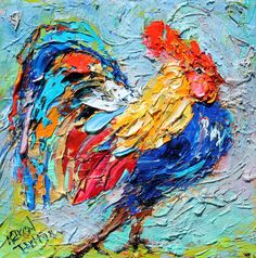 Original oil painting Racy Rooster Bird abstract by Karensfineart