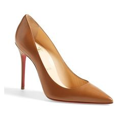 "Christian Louboutin 'Decollete' Pointy Toe Pump, 4"" heel ($675) ❤ liked on Polyvore featuring shoes, pumps, noisette cognac leather, christian louboutin pumps, pointed toe high heel pumps, cognac pumps, leather pointy toe pumps и genuine leather shoes"
