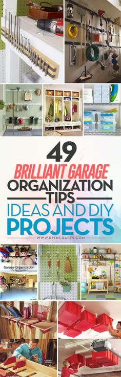 49 Brilliant Garage Organization Tips, Ideas and DIY Projects - Garage organization is not difficult nor is it expensive. It is however, essential if you want a clean space where everything is relatively easy to find. Whether you have a large garage or just a small space, there are many things that you can do to utilize that space and give yourself a bit of additional storage without taking up the area that you need for cars and other items. #organizing #garage #clutter #diy via…