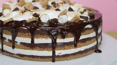 This S'mores Cake Requires No Campfire - or Oven!: This easy no-bake s'mores cake is filled with a rich, toasted marshmallow creme, layers of crunchy graham cracker, and mouth-watering chocolate fudge - also, it's topped with a rich ganache and even Baked Smores, Smores Cake, Baking Recipes, Cake Recipes, Dessert Recipes, Graham Crackers, Tasty, Yummy Food, Toasted Marshmallow