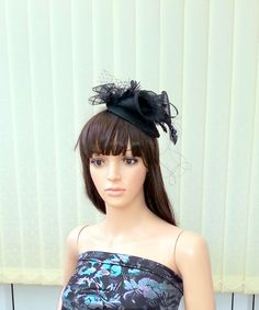 Black Fascinator, Ascot races,Kentucky Derby Hat,British Tea Party Fascinator,Ascot derby fascinator,Wedding hat,evening fascinator,sinamay