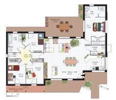 rsultats de recherche dimages pour plan maison en u avec piscine - Plan Architecture Maison 100m2